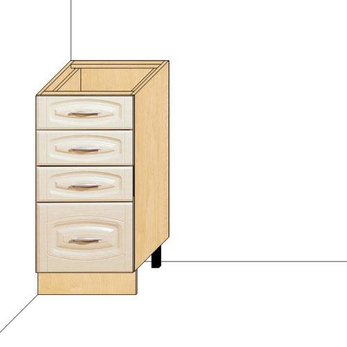 Стол 40 с 4-мя ящиками Глория-3 (без столешницы)