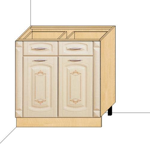 Стол 80 с колоннами с 2-мя ящиками Глория-3 (без столешницы)