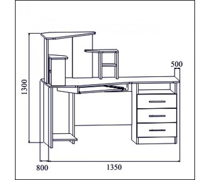 Стол компьютерный №3 ( венге/дуб)