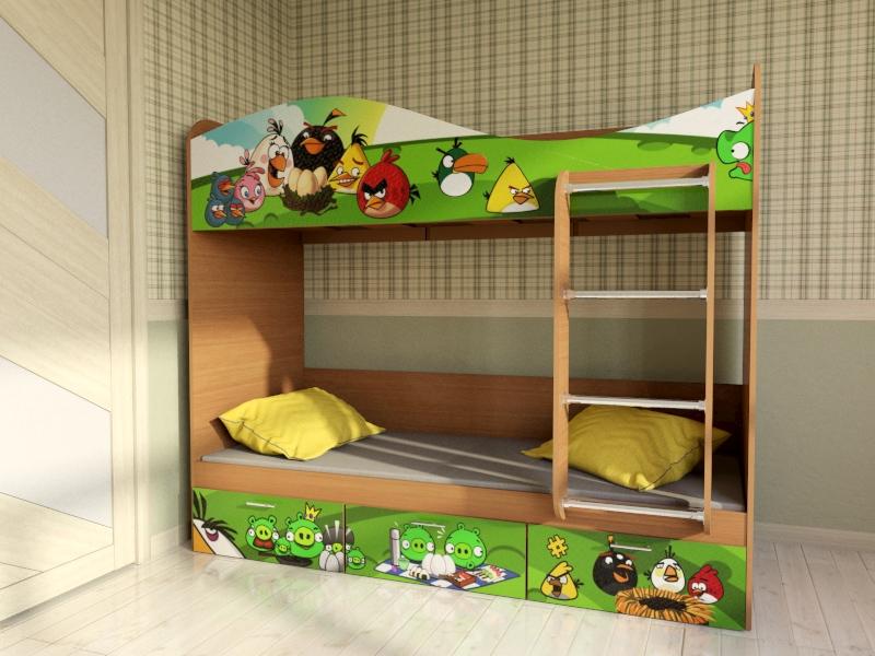 """Кровать для детской  КР5 """"Энгри Бёрдс"""""""