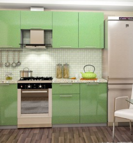 Кухня Премьера 2,10 м + 0,60 м газовка (металлик глянцевый)