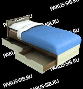 Кровать «Соло» — 800 с ящиками  (венге/дуб)