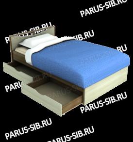 Кровать «Соло» -1400  с ящиками  (ольха)