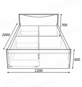 Кровать «Соло» -1400 с ящиками (шимо т/с)
