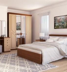 Кровать  «Азалия МДФ16 М»  (орех/лен)