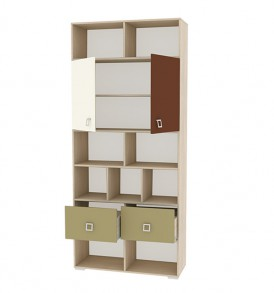 Шкаф-стеллаж с двумя дверями и полками для книг «Тетрис» ПМ-154.07