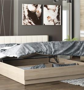 Двуспальная подъемная кровать с мягкой спинкой «Ларго» СМ-181.01.004