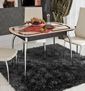 Стол обеденный раздвижной со стеклом с рисунком «Милан» СМ-203.23.01