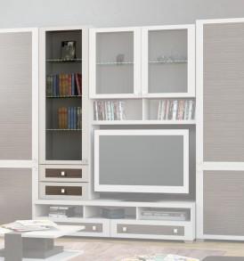 Шкаф-надстройка с 1-ой дверью со стеклом и с 2-мя ящиками «Фиджи» ШН2я(12)_32-19_18