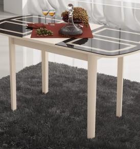 Стол обеденный раздвижной со стеклом с рисунком на деревянных ножках «Милан» СМ-203.23.11