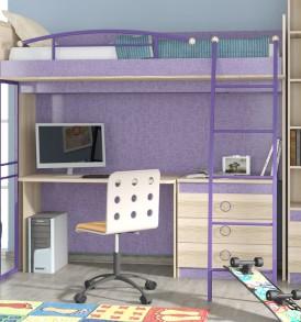 Кровать-чердак с рабочей зоной «Индиго» №2 ГН-145.002