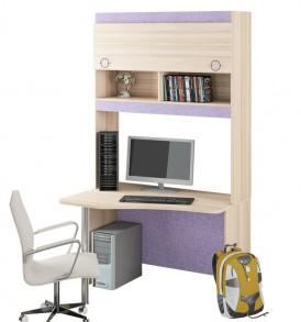 Угловой письменный стол с надстройкой «Индиго» №11