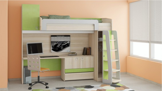 Кровать-чердак с рабочей зоной «Киви» №4 ГН-139.004