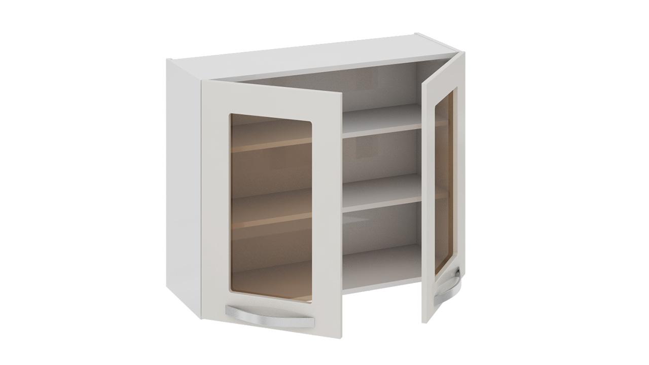 Шкаф верхний со стеклом капучино (крем) от мебельная фабрика.