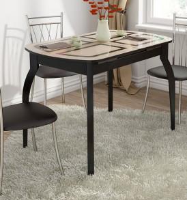 Стол обеденный раздвижной со стеклом с рисунком на деревянных ножках «Милан» СМ-203.23.15