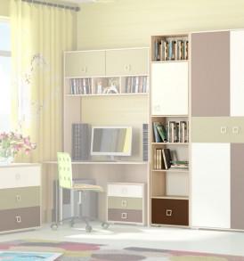 Шкаф-стеллаж с одной дверью и полками для книг «Тетрис» ПМ-154.08