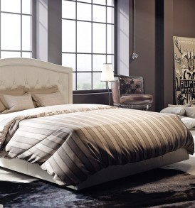 Двуспальная кровать с мягкой спинкой «Адель» СМ-300.01.11(1)