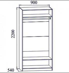 Гостиная  «Вега» Шкаф 2х дверный с зеркалом-  ВМ-05