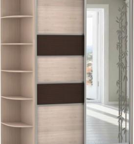 2-х дв,корпус Дуб мол, двери бамбук, зеркало с аппликацией 21470
