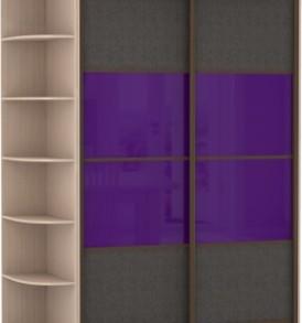 Шкаф купе 2 двер, двери стекло, экокожа, корпус Венге