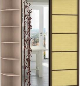 2-х дв,корпус Дуб мол, двери зеркало с аппликацией, бамбук 21520