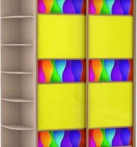 2-х дв,корпус Дуб мол,двери желтое стекло, фотовставки 23650