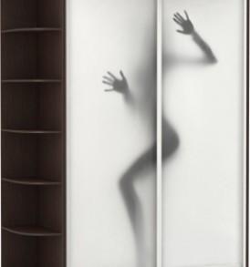 Шкаф купе 2 двер, двери экокожа, зеркало, корпус Венге