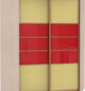 21160 Шкаф купе Угловой, корпус Дуб молочный, двери бамбук, стекло цветное