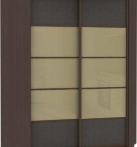 21160 Шкаф купе Угловой, корпус Венге, двери стекло, экокожа