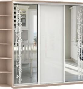 22990 3х двер.Оптим, корпус Дуб молочный, двери зеркало с аппликацией, стекло