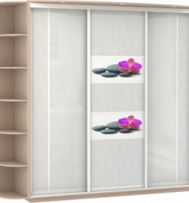 Шкаф купе 3 двер. Оптим  корпус Дуб молочный, двери зеркало с аппликацией, стекло