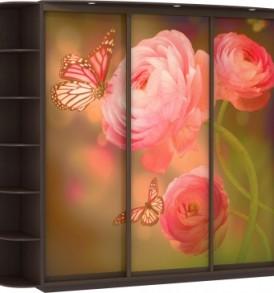 Шкаф купе 3 двер. Оптим  корпус Венге, двери экокожа, ДСП, зеркало