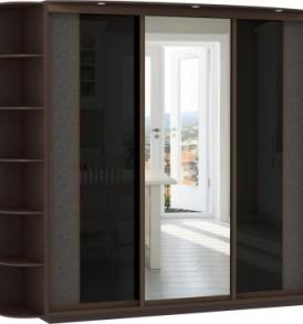 23710 3х двер.Оптим, корпус Венге, двери экокожа, стекло цветное, зеркало