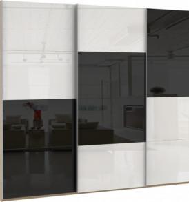 Шкаф купе 3 двер. «Эста»  6 деко. стекол Омут Голд, 6 белых стекол.