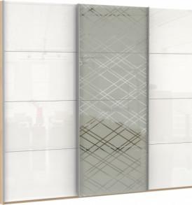 53790 3х двер. 4 деко. стекол, диско белый, 8 белых стекол