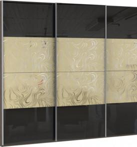 57090 3х двер. 6 деко. стекол Омут голд, 6 черных стекол