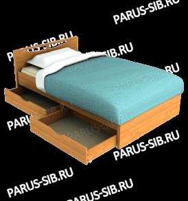 Кровать»Соло» -1400  с ящиками  (венге/дуб)