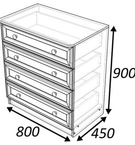 Комод  «Классика»  4 ящика ( дуб выбеленный)