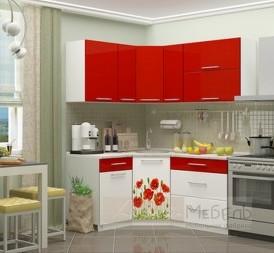 Кухня угловая Красные маки 1,33