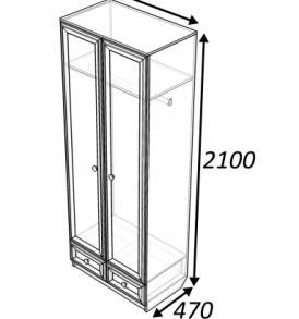 Шкаф  «Классика»  2.2.2 ( дуб выбеленный)
