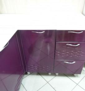 Кухня угловая «Волна» 1.10*1.140(белый/фиолетовый метеллик)- модульная  (Копия)