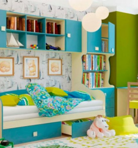 Детская «Радуга» 2этаж+шкаф