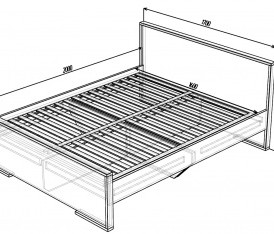 Модульная система»Делис» Кровать 1600 (сонома/шелк жемчужный)