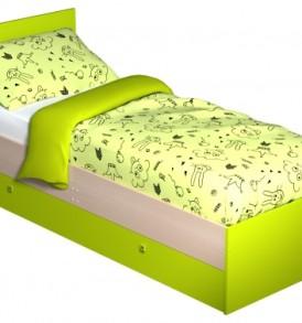 Модульная система «Радуга» Кровать-800 с ящиками (дуб/желтый)