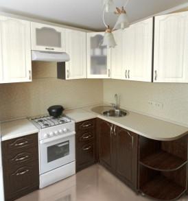 Кухня «Лирика МДФ» угловая 1.40 *1.80 (сандал белый/ венге  рельефный)- модульная