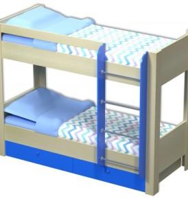 Модульная система «Радуга» Кровать 2х ярусная  с ящиками(дуб/желтый)