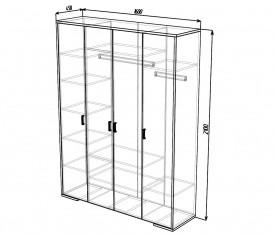 Модульная система»Делис» Шкаф 4х дверный(сонома/шелк жемчужный)
