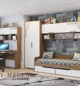 Модульная система для детской «Гарвард» Кровать-диван с ящиками(с щитовым основанием под матрас)