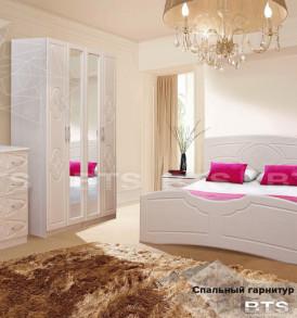 Спальный гарнитур «Лилия» МДФ Кровать 1,6м (дуб атланта/лен белый)