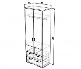 Модульная система»Делис»Шкаф-2х дверный(сонома/шелк жемчужный)
